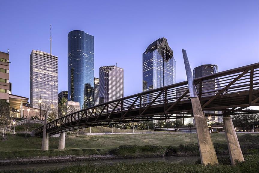 Houston Skyline And Buffalo Bayou Pedestrian Bridge
